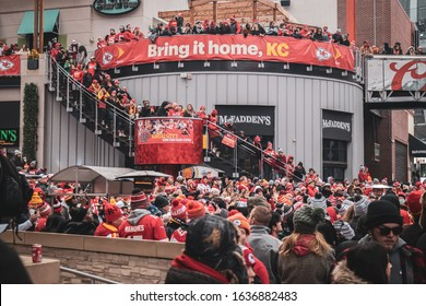 Kansas City, Missouri - February 5, 2020: Bring it home KC Chiefs Fans Celebrating at the Power and Lights District