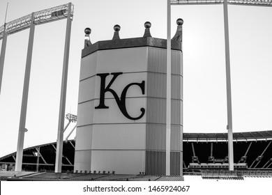 Kansas City, Missouri - January 1 2016: The crown at Kauffman Stadium, home to the Kansas City Royals baseball team, built 1973. Black and white.