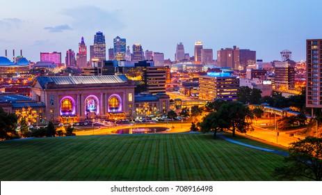 KANSAS CITY, MISSOURI - JULY 11th: Downtown Kansas City skyline as night falls in Kansas City, Missouri on July 11th, 2016.