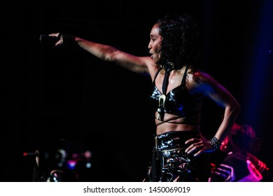 Kansas City, Missouri – November 17, 2018:  R & B group TLC performs at the Star Pavillion at the Ameristar Casino in Kansas City, Missouri.