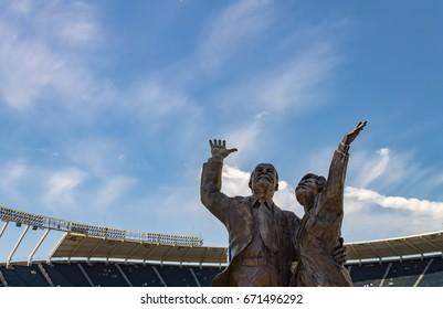 Kansas city, Missouri United States- 6/26/2017 Ewing Marion Kauffman and Muriel irene Kauffman bronze statue at Kauffman Stadium