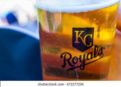 Kansas city, Missouri United States- 6/26/2017 Kauffman stadium beer with Kansas city Royals logo on the cup
