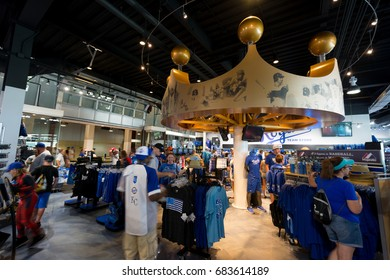 KANSAS CITY MISSOURI, UNITED STATES OF AMERICA - July 23rd 2017: Kansas City Royals. Inside the Merchandise Store