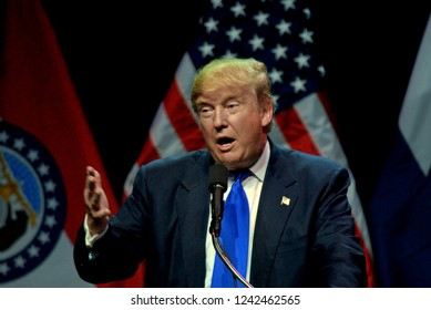 Kansas City, Missouri, USA, 12th March, 2016Presidential Candidate Donald Trump addresses a crowd of about 3200 loyal supporters during a campaign rally in Kansas City today.