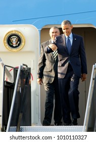 Kansas City Missouri, USA, 29th July, 2014 President Barak Obama steps out of Air Force One after after arriving at MCI Airport this evening. The President  is in Kansas CIty to deliver a speech