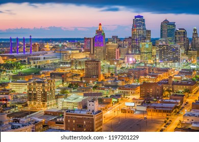Kansas City, Missouri, USA downtown cityscape at twilight.