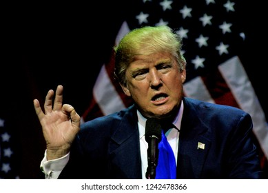 Kansas City, Missouri, USA, March 12, 2016 Presidential Candidate Donald Trump addresses a crowd of about 3200 loyal supporters during a campaign rally today