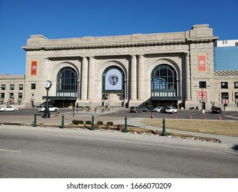 Kansas City, Missouri / USA - March 3 2020: Famous, Historic Union Station beneath Blue Sky