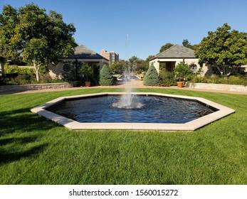 Kansas City, Missouri / USA - October 8 2019: Fountain at the Ewing and Muriel Kauffman Memorial Gardens