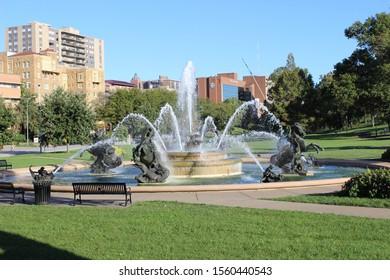 Kansas City, Missouri / USA - October 7 2019: J.C. Nichols Memorial Fountain at Country Club Plaza