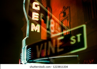 Kansas City, Missouri/USA-Circa 1999: Double exposure of Gem marquee and 18th Vine depicting Jazz District in which this image was award best shot for the Kansas City Magazine in 2000. Copy available