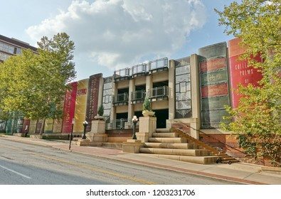 KANSAS CITY, MO -17 AUG 2018- View of the parking garage of the Central Branch of the Kansas City Public Library  whose exterior walls are a row of books lined up on a shelf in Missouri.