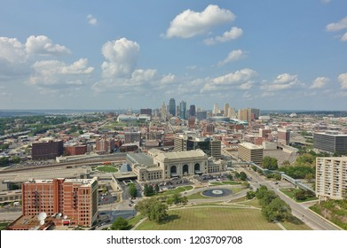 KANSAS CITY, MO -17 AUG 2018- Landscape view of the downtown skyline Kansas City, Missouri, with the Union Station museum in the foreground.