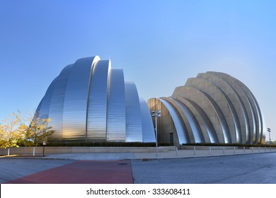 KANSAS CITY, MO - OCTOBER 11: Kauffman Center for the Performing Arts building in Kansas City, Missouri. Designed by Moshe Safdie and completed in 2011 as an example of Structural Expressionism.