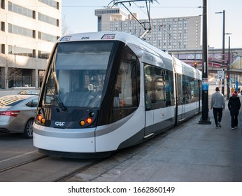Kansas City, MO / United States of America - February 18th, 2020 : Electric streetcar public transport prepares to depart station in downtown KC.  Free public transport from RideKC.