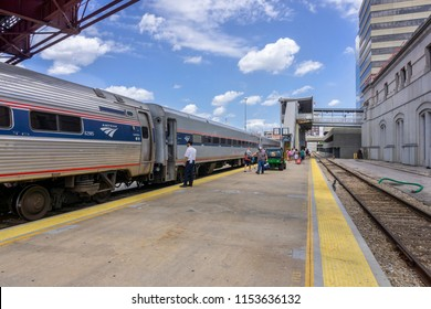 Kansas City, MO, USA - July 27, 2018: Amtrak Train, Missouri River Runne from St Louis just arrived at Kansas City station.