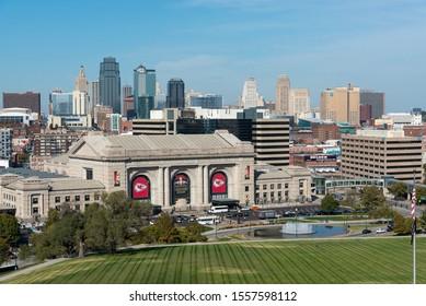 Kansas City, MO, USA - October 27, 2019: View of the KC Skyline