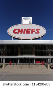 KANSAS CITY, MO, USA - SEPTEMBER 30: The exterior of Arrowhead Stadium in Kansas City, Missouri on September 30, 2017. Arrowhead Stadium is home to the Kansas City Chiefs of the NFL.
