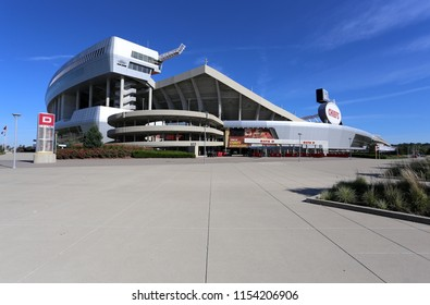 KANSAS CITY, MO, USA - SEPTEMBER 30: The exterior of Arrowhead Stadium in Kansas City, Missouri on September 30, 2017. Arrowhead Stadium is home to the Kansas City Chiefs of the NFL.