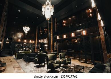 Kansas City, MO/USA - November 2017: Hotel Phillips Kansas City, Classic Interior Design, 1930's Design