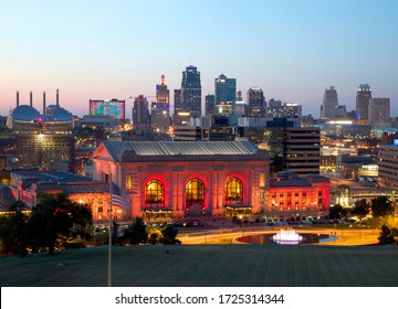Kansas city night view, Missouri state Midwest USA Au 2018.
