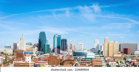 KANSAS CITY, OCT 4:  Clear skies over Kansas City, Missouri on October 4, 2014.  Kansas City is situated over the states of Kansas and Missouri.