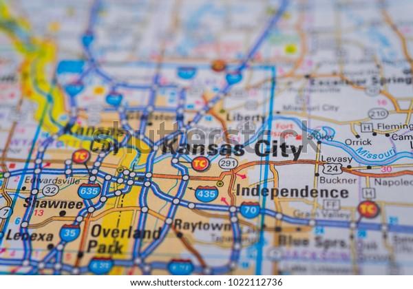 Kansas City On Usa Map Stock Image | Download Now