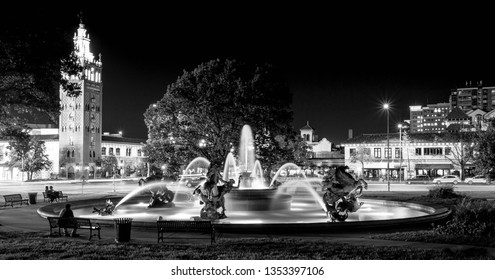 Kansas City Plaza Fountain Long Exposure Black and White