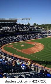 KANSAS CITY - SEPTEMBER 27: Royals fans await a late season baseball game at Kauffman Stadium on September 27, 2009 in Kansas City, Missouri.