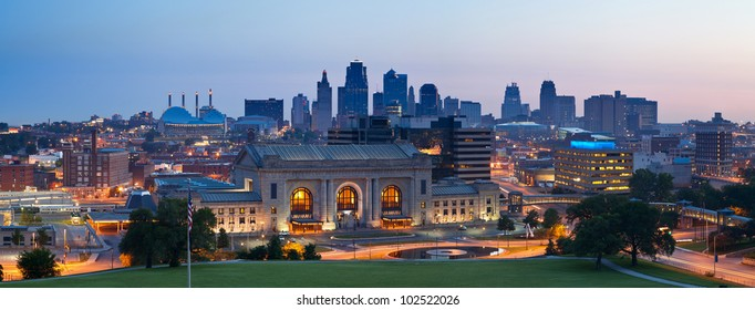 Kansas City skyline panorama. Panoramic image of the Kansas City downtown district at sunrise.