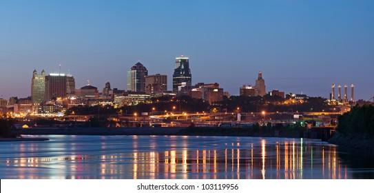 Kansas City skyline panorama. Panoramic image of the Kansas City downtown district.