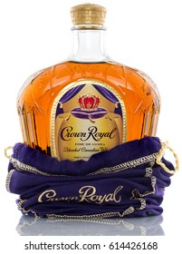 KANSAS CITY KANSAS, UNITED STATES OF AMERICA - April 2017: Crown Royal Whiskey. Crown Royal is a Famous Alcoholic Drink