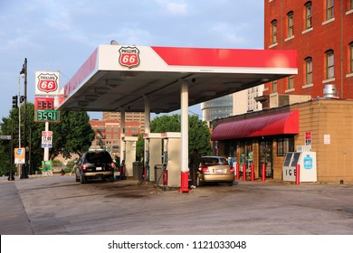 KANSAS CITY, USA - JUNE 25, 2013: Phillips 66 gas station in Kansas City, Missouri. Phillips 66 had revenue of US$ 166 billion in 2012. It employs 13,500 people.