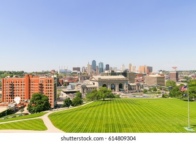 KANSAS CITY, USA - MAY 21, 2016: The Kansas City Union Station seen from the National World War I Museum and Memorial, a public green space in the foreground and the skyline in the back.