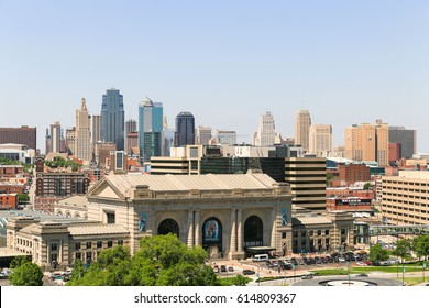 KANSAS CITY, USA - MAY 21, 2016: The Kansas City skyline with the Union Station in the foreground seen from the National World War I Museum and Memorial.