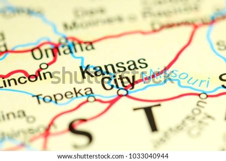 Kansas City USA On Map Stock Photo (Edit Now) 1033040944 - Shutterstock