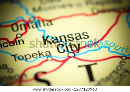 Kansas City USA On Map Stock Photo (Edit Now) 1297129963 - Shutterstock