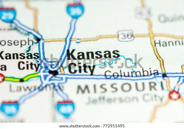 Kansas City Usa On Map Stock Photo (Edit Now) 772951495