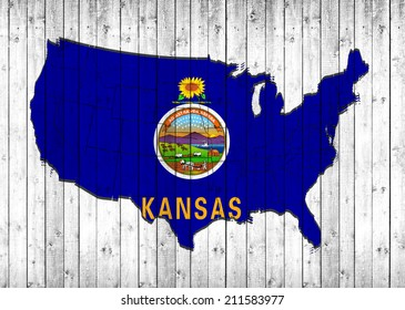 Kansas flag with America map and wood background