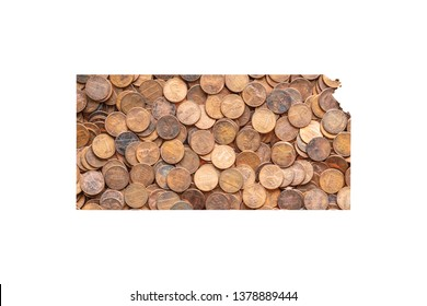 Kansas State Map and Money Concept, Piles of Coins, Pennies