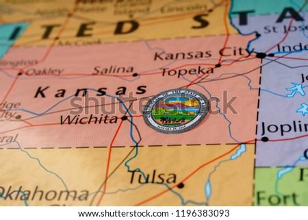 Kansas State On Usa Map Stock Photo Edit Now 1196383093 Shutterstock