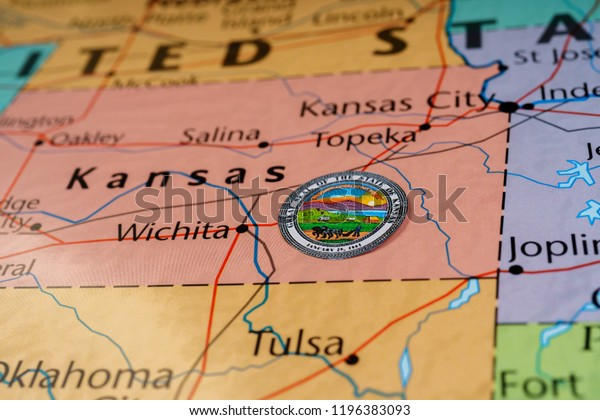 Kansas State On Usa Map Stock Photo (Edit Now) 1196383093 on south carolina on map, wisconsin on map, minnesota on map, lsu on map, alabama on map, notre dame on map, colorado on map, kansas highway, yale on map, tulsa on map, marquette on map, kansas state highlights, ks road map, texas a&m on map, kansas flag, virginia on map, california on map, georgia on map, washington on map, gonzaga on map,