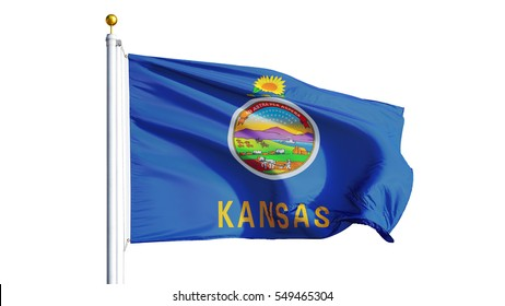 Kansas (U.S. state) flag waving on white background, close up, isolated with clipping path mask alpha channel transparency, perfect for film, news, composition