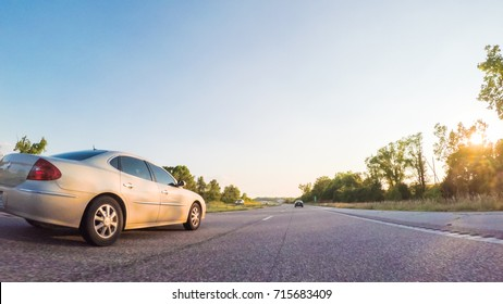 Kansas, USA-July 15, 2017. POV point of view - Driving West on Interstate highway 70 through Kansas.