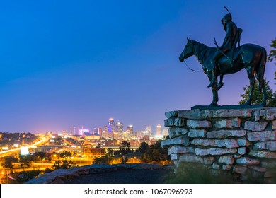 kansas,missouri,usa.  09-15-17, beautiful kansas city overlooking Kansas City skyline at night.