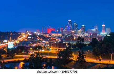 kansas,missouri,usa.  09-15-17, beautiful kansas city skyline at night.