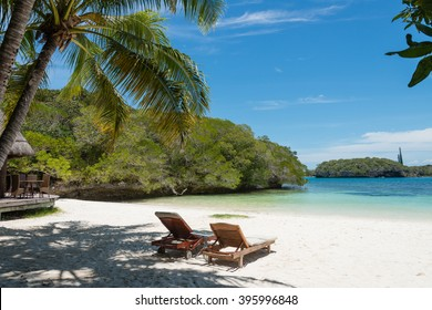 Kanumera Beach on the Isle of Pines in New Caledonia. The bay is known as one of the most beautiful bays in the world.