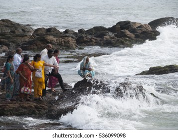 KANYAKUMARI, INDIA - 13 NOVEMBER 2015: Unidentified Pilgrims and tourist visiting Kanyakumari, Kanyakumari is the southern most tip popular for pilgrimage.