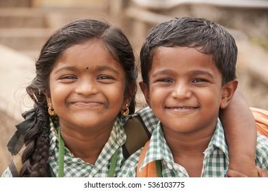 KANYAKUMARI, INDIA - 13 NOVEMBER 2015: Unidentified happy school children on the way of school.