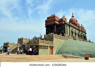Kanyakumari, India, Circa 2018. Main Mandap of the Vivekanada Rock Memorial. It was built in 1970 in honour of Swami Vivekananda who is said to have attained enlightenment on the rock.